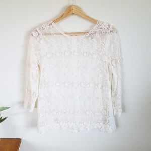 FOREVER 21 Ivory Long Sleeve Embroidered Shirt